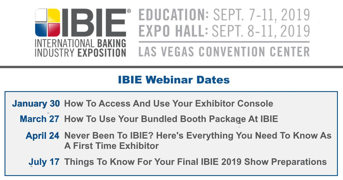 Ibie 2019 Schedule