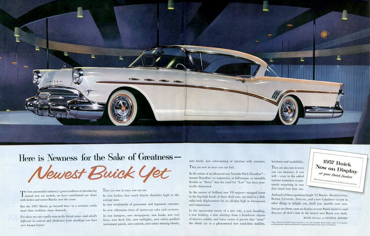Newness For The Sake Of Greatness 1957 Buick Ad