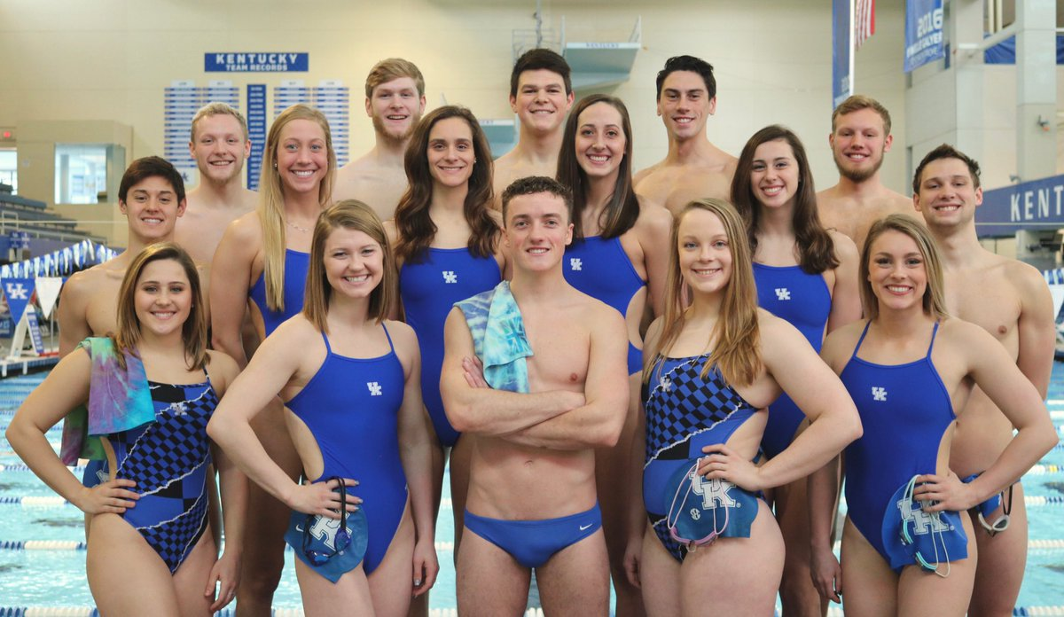 Members of the swimming and diving team