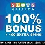 Image for the Tweet beginning: The SlotsMillion casino bonus in
