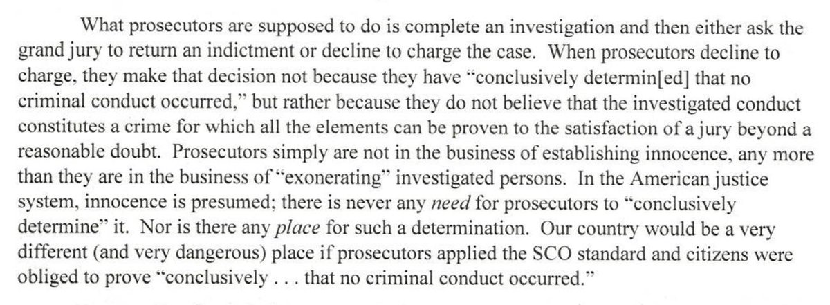 "Finally reading the Flood letter. This graf is actually a damning indictment of Barr, who has been arguing DOJ ""confirmed"" collusion didn't happen, proved Trump ""did nothing wrong,"" and showed he was ""falsely accused."""
