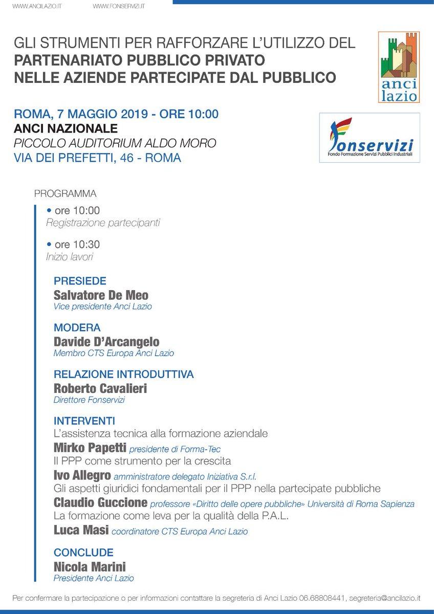 test Twitter Media - Il prossimo 7 maggio alle ore 10:00 presso il Piccolo Auditorium Aldo Moro di Roma, si terrà un seminario organizzato da @comuni_anci e @Fonservizi sull'interessante tema del Partenariato Pubblico Privato. In questa occasione interverrà anche il partner Iniziativa @ivo_allegro https://t.co/eKVyEALsEN