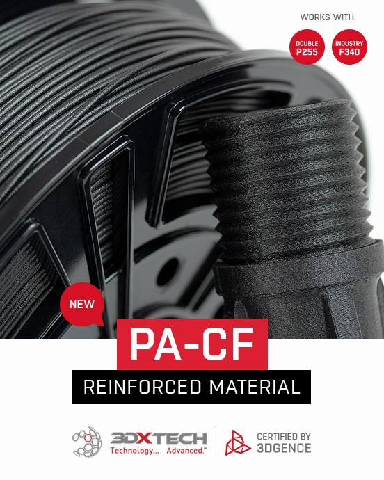 NEW: Great news! PA-CF has been added to the @3DGence Certified Material Base. Now you can #3Dprint from #reinforced materials on #3DGence INDUSTRY F340 and DOUBLE P255. 🔥🔥🔥 Great to be oartnering with them! #Filament #3Dprinting #Tech #AdditiveManufacturing