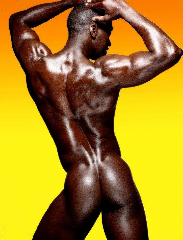 African american bodybuilder man naked muscular stock photo