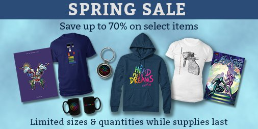 Save up to 70% on select items in the Coldplay Stores Spring Sale, which is on now. A smarturl.it/ColdplaySpring…