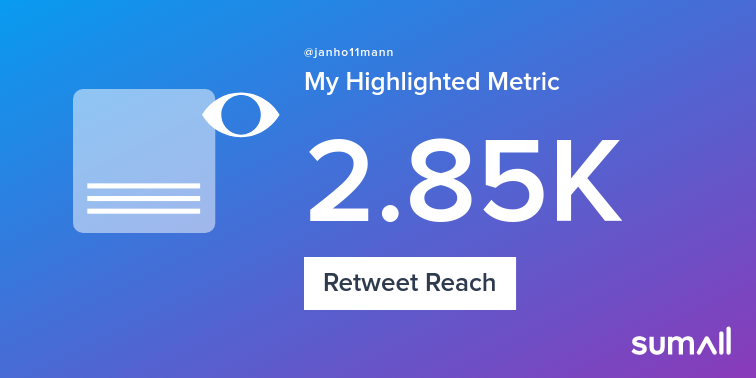 My week on Twitter 🎉: 1 Mention, 33 Likes, 5 Retweets, 2.85K Retweet Reach, 5 New Followers, 1 Reply. See yours with https://t.co/JR2P4aTpOV