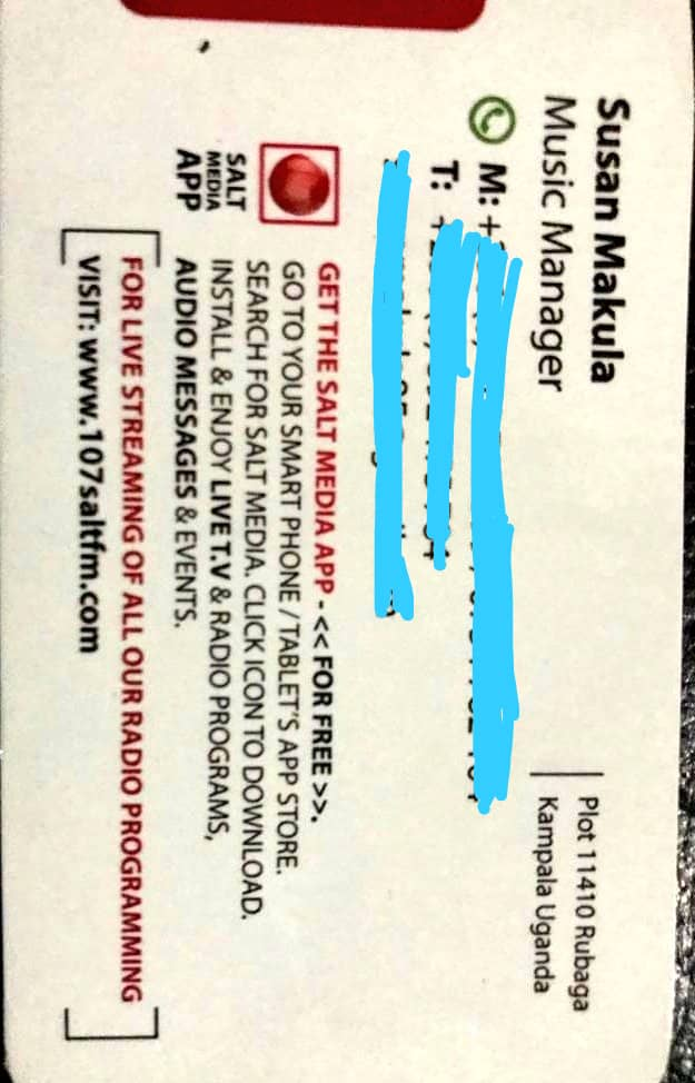 Martin Ssempa Pastorbaaba On Twitter Susan Nantaba Is A Radio Station Music Programmer Who Has Danced Into Bujjingos Heart This Is Susan S Business Card With Her Numbers Erased She Is An