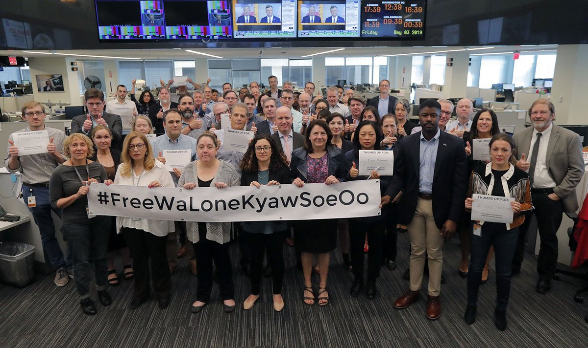 Reuters Washington bureau staff and #Reuters President @mfriedenberg stand for press freedom in solidarity with our jailed colleagues Wa Lone and Kyaw Soe Oo in Myanmar on #WorldPressFreedomDay