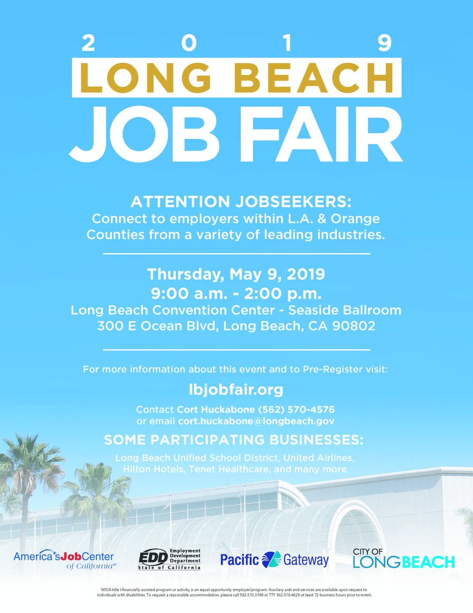 Pacific Gateway On Twitter Join Us May 9th For The 2019 Long Beach Job Fair At The Long Beach Convention Center Visit Https T Co N0q4fafgir To Pre Register Lbjobfair Https T Co Mx8a1hlg5c