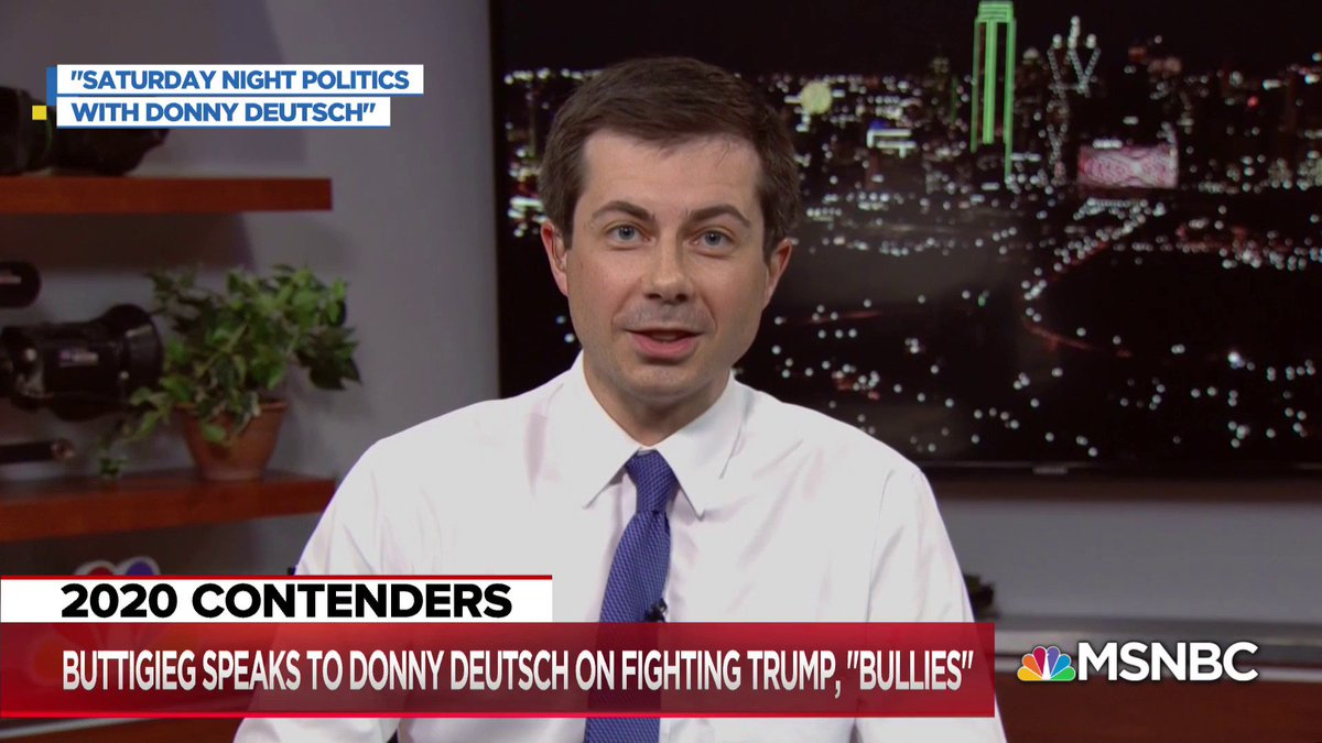 """I have no shortage of batting practice when it comes to dealing with bullies""  Pete Buttigieg talks with Donny Deutsch about his 2020 presidential campaign. Watch the full interview tomorrow at 8 p.m. ET on @SNPonMSNBC https://t.co/CkGSmz88qT"