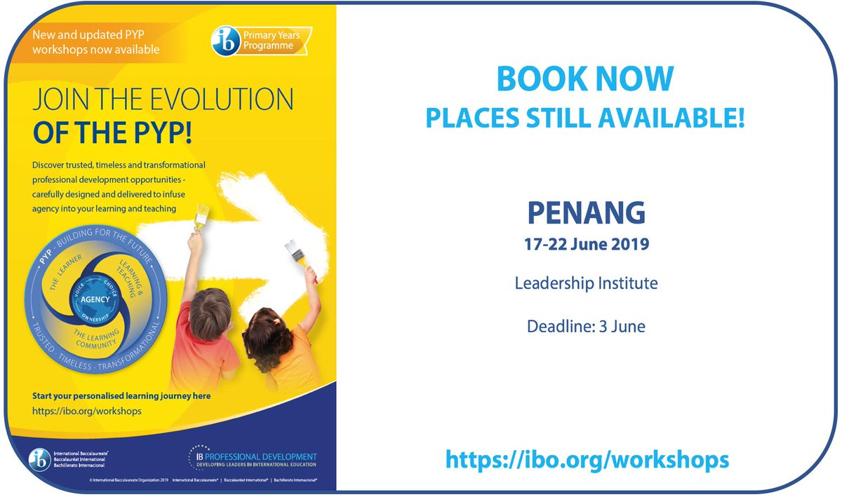 #PYPpd leadership opportunities in Penang, Malaysia from 17-22 JuneJoin the evolution of the PYP at new/updated professional development workshops to inspire and energise your leadership team.Secure your place now!http://bit.ly/2VevqIw
