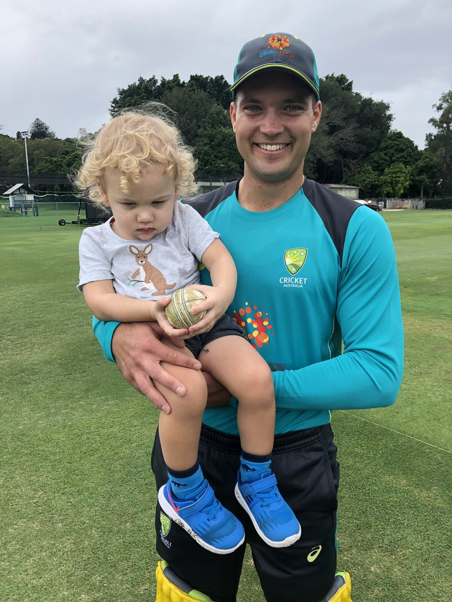 Will be a while before the little man realises how lucky he was but he had a ball. Thanks to JL and @aaronfinch5 for creating an unbelievable memory for Ollie. Was a little shy in the presence of greatness @alexcarey_5 😂🏏