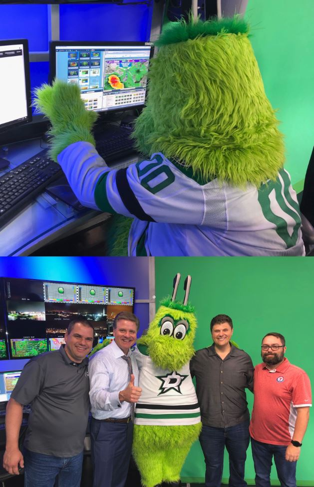 Our special guest tonight who helped keep that thunderstorm away from the @DallasStars watch party! Thanks @VictorEGreen ! #GoStars #wfaaweather