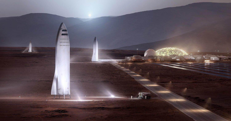 Старшипы на Марсе в фантазии  художника Спейс Икс.