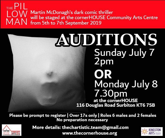 Fun, friendly auditions for Martin McDonagh's dark comic thriller The Pillowman will be held at the cornerHOUSE on Sunday, July 7 at 2pm and Monday, July 8 at 7.30pm. More details about The Pillowman at https://t.co/bciGBTGIer