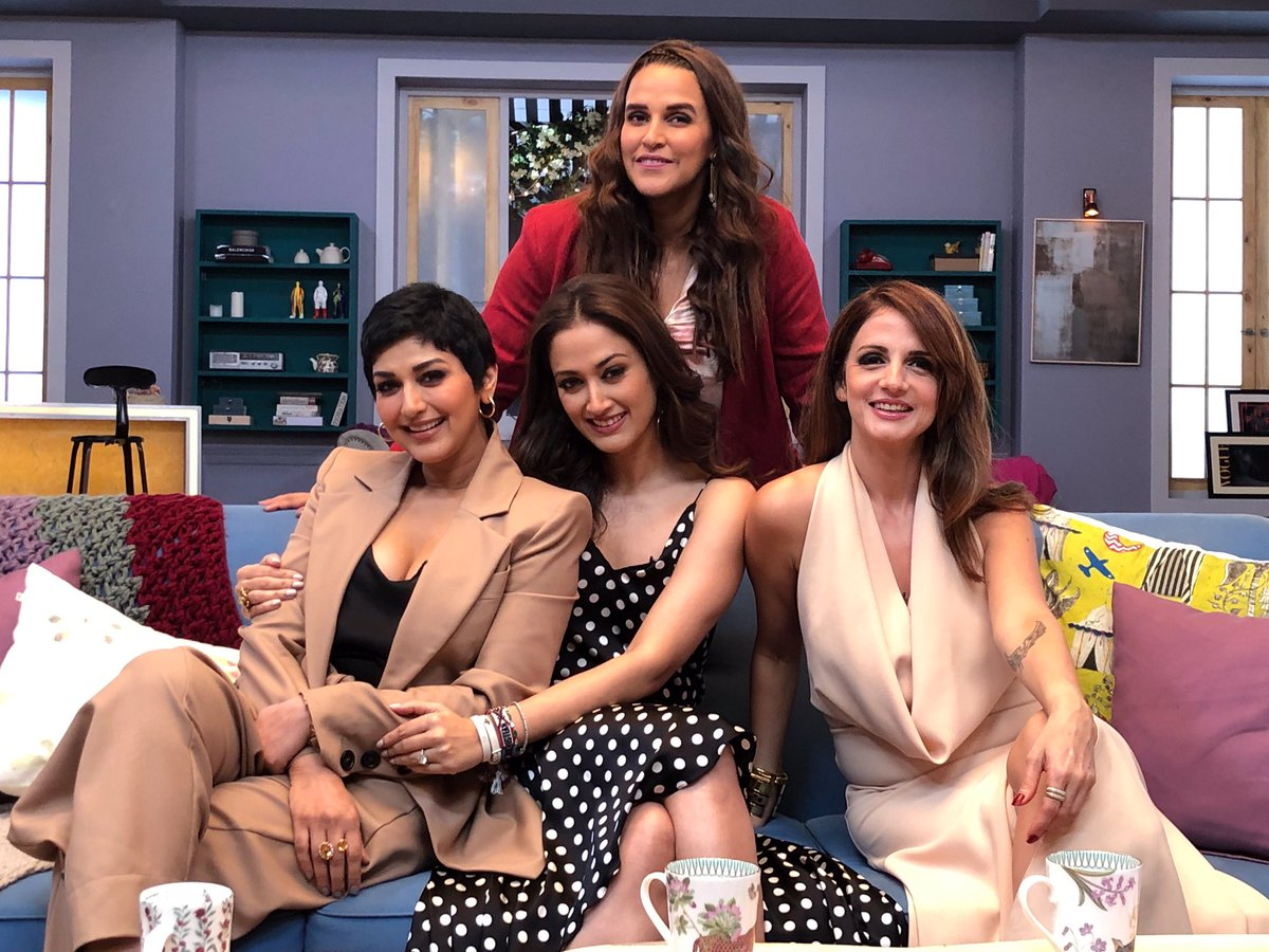 We always have something to talk, discuss, laugh about, and bond over. This one time, we just got caught on camera doing all of this😄 #BFFsWithVogue   @sussannekroshan #GayatriOberoi @NehaDhupia @CondeNast