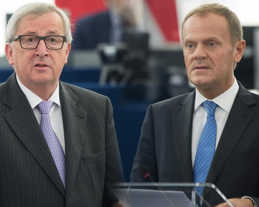 Your TWO presidents. You didn't elect them, you can't get rid of them. On the left, Juncker - rejected by the people of Luxembourg, now your president. On the right, Tusk - rejected by the people of Poland, now your president. Democracy, EU style.