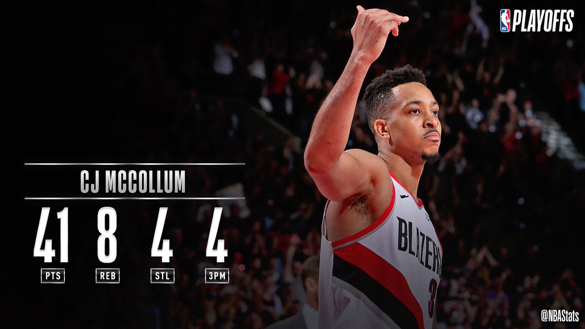 CJ McCollum becomes the 5th player in #NBAPlayoffs history to record a stat line of 41+ points, 8+ rebounds, 4+ assists, and 4+ steals, joining LeBron James (2x), Russell Westbrook, Hakeem Olajuwon, and Patrick Ewing! #SAPStatLineOfTheNight