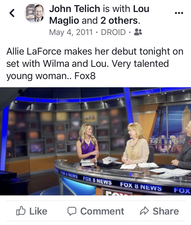 Hey @ALaForce Can you believe it's been 8 years?? Here's what I posted the night you debuted with us in 2011 @fox8news And you knocked it out of the park . Proud of you!