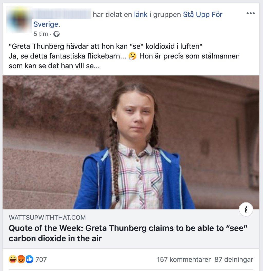 6a26cd1c128 På svenska Facebook har utländska artiklar börjat cirkulera om att Greta  Thunberg påstår sig kunna se koldioxid med blotta ögat. Liten  tråd:pic.twitter.com/ ...