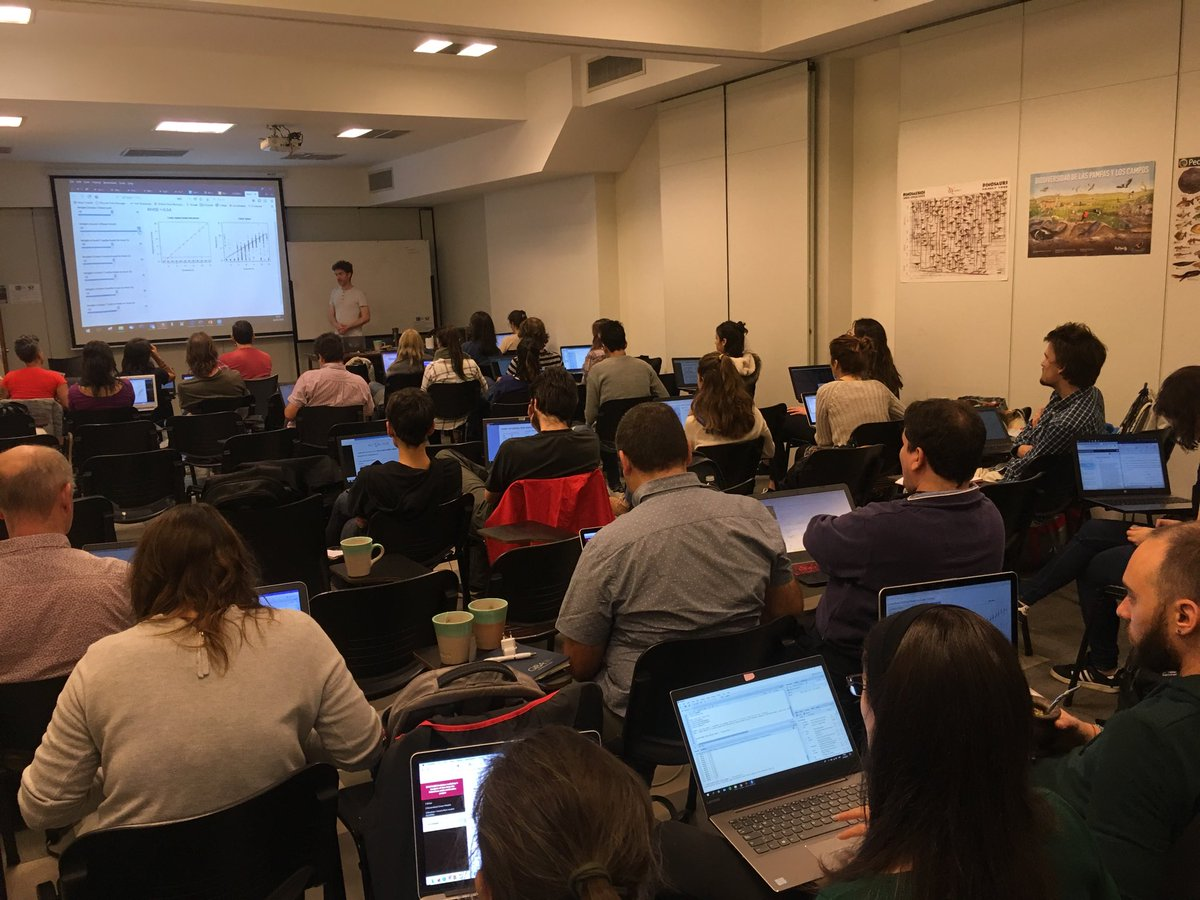Fantastic weather, Saturday, but full room of enthusiastic students learning about GAMs! #CONTAIN in Buenos Aires. @UoABioSci