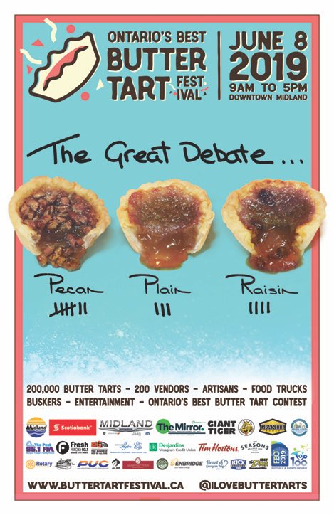 1fdc15491 How do you like your #buttertarts? Plain, with raisins or with pecans? The  sweetest day of the year is five weeks today!