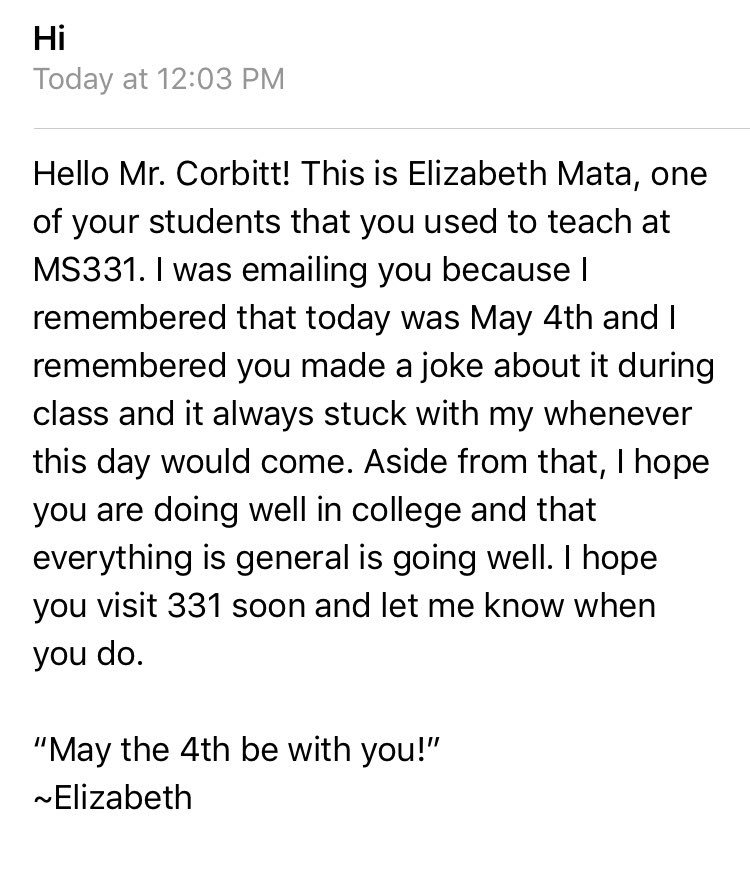 This is one of the best emails I've received in a while ❤️. May the Fourth be with you! #edchat