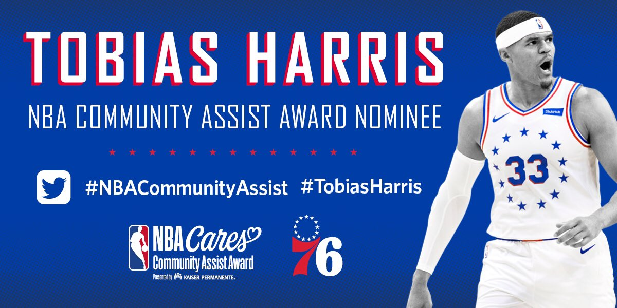 Tomorrow is the last day to vote for the #NBACommunityAssistAward!   RT this tweet to cast your vote now! 🙏🏽 #TobiasHarris https://t.co/tRxOZcGjyc