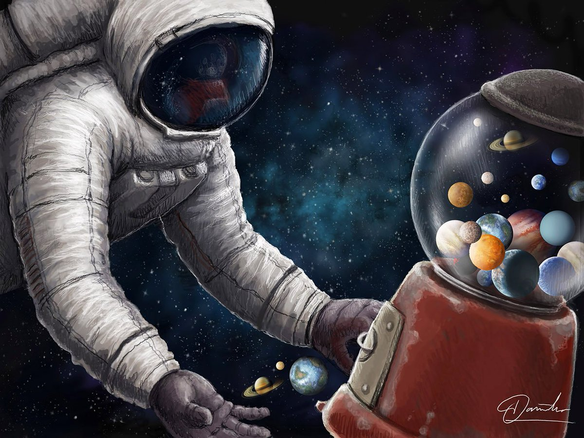 My new drawing 'Cosmic Candy' #illustration #scifi #astronaut #gum #candy #cosmos #space #drawing #art #astroart