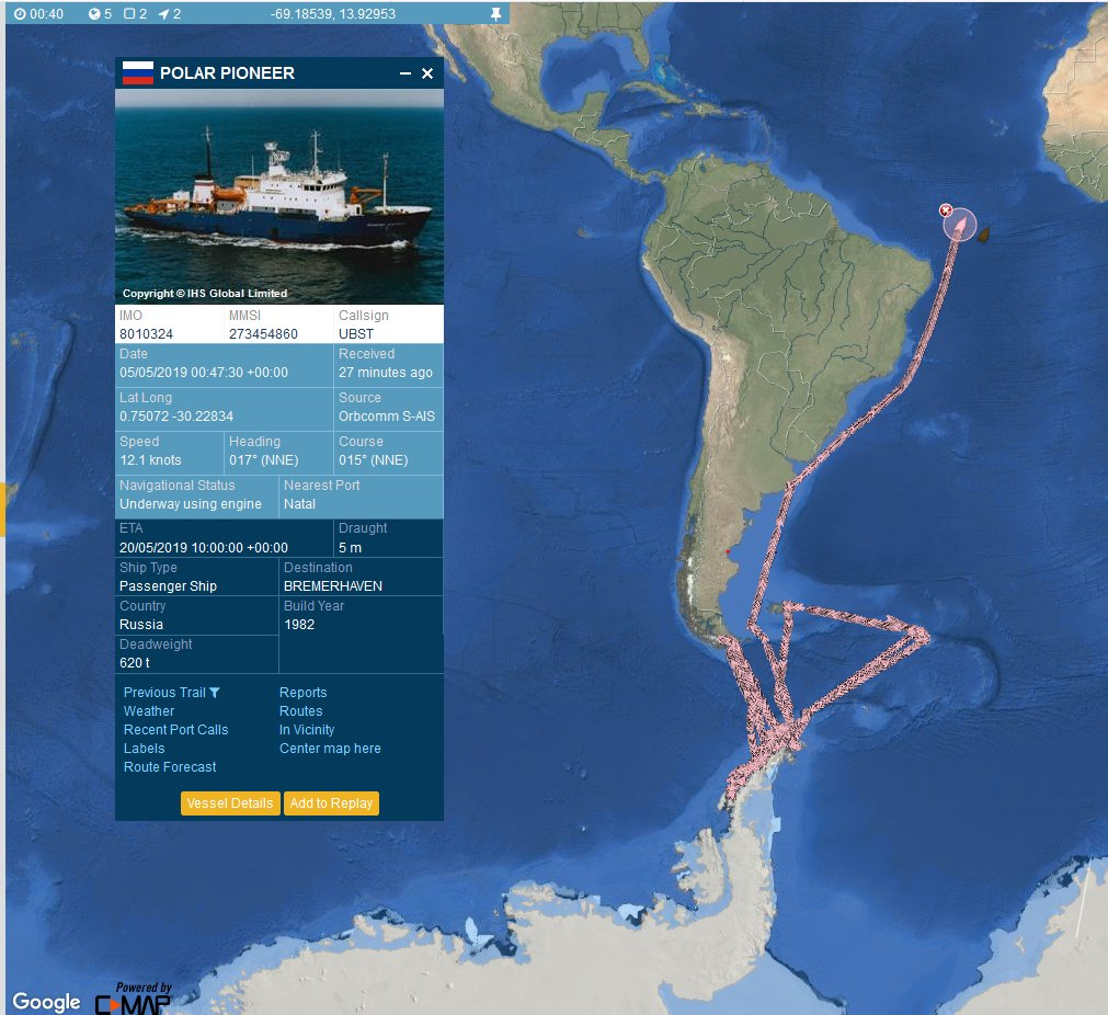 """#WorldCruise This Russian """"Passenger Ship"""" caught my eye last month when it was approaching Antarctica. It's an older vessel and may not be strictly in the """"passenger"""" business, but what an interesting three month cruise shown here. pic.twitter.com/2DDj3mZObq"""
