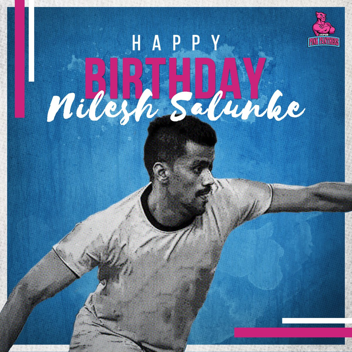 Wishing our talented raider Nilesh Salunke a very #HappyBirthday! Best wishes for the year and season ahead!  #HappyBirthdayNileshSalunke #NileshSalunke #PantherSquad #Panthers #TopCats #JaipurPinkPanthers #JPP #Jaipur #Kabaddi #ProKabaddi