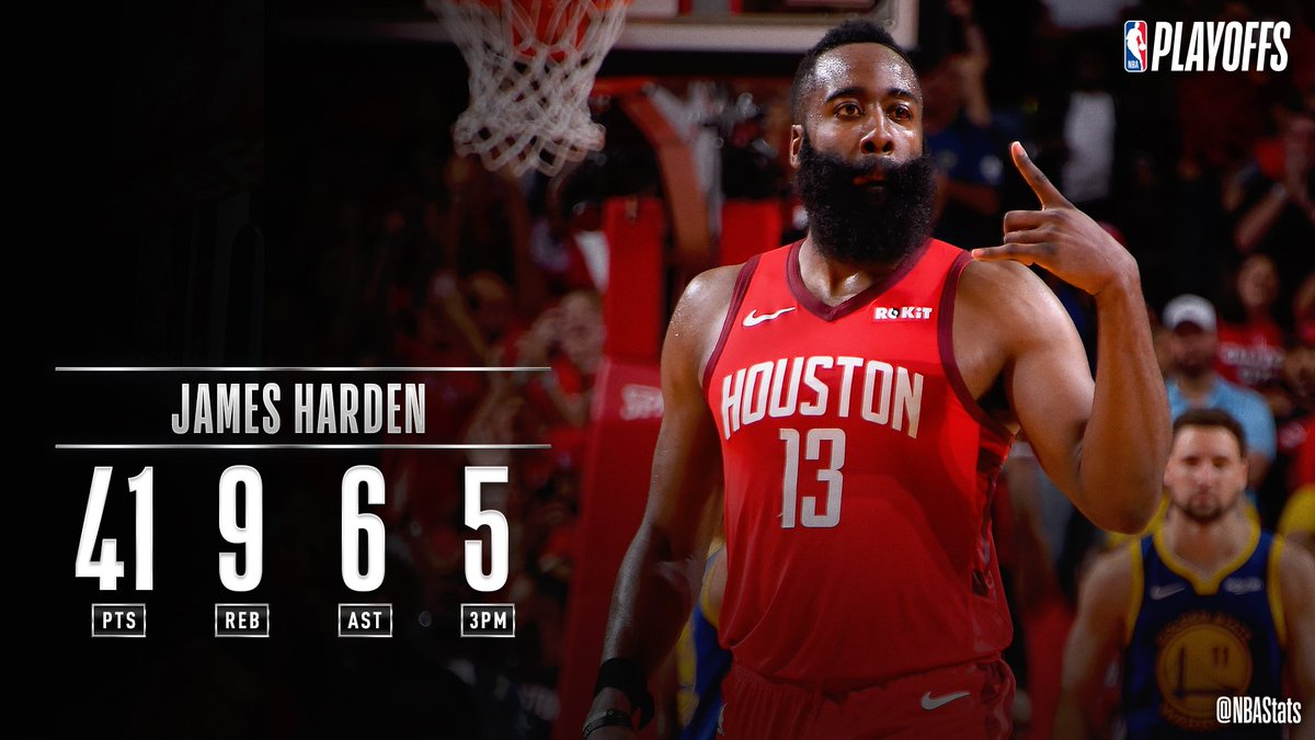 James Harden guides the @HoustonRockets to victory in Game 3 with 41 PTS, 9 REB, 6 AST! #SAPStatLineOfTheNight