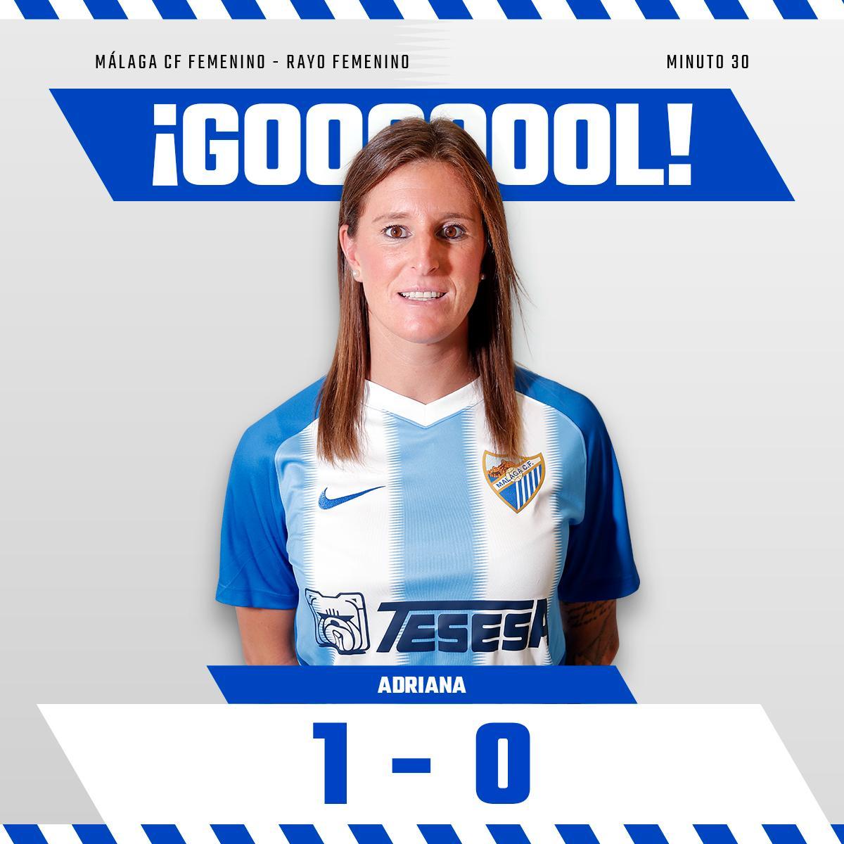 1-0 Min30| ¡¡GOOOOOOL GOOOOOOL GOOOOOL!!!! ¡¡¡LA CAPITANA HACE EL PRIMERO!!!!  ¡¡GO LA ZO de @ADRIANA__MARTIN desde el punto de penalti!!!!   #MCFFLive #MálagaRayo⚽️ #SomosMálaga💙 #LuchaConNosotras💪