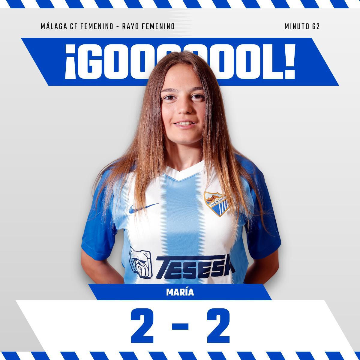 2-2 Min62| ¡¡¡GOOOOOOL GOOOOOL GOOOOOL CON ACENTO MALAGUEÑO!!!! ¡¡¡¡@Mariagamezn10 empata el partido!!!   #MCFFLive #MálagaRayo⚽️ #SomosMálaga💙 #LuchaConNosotras💪