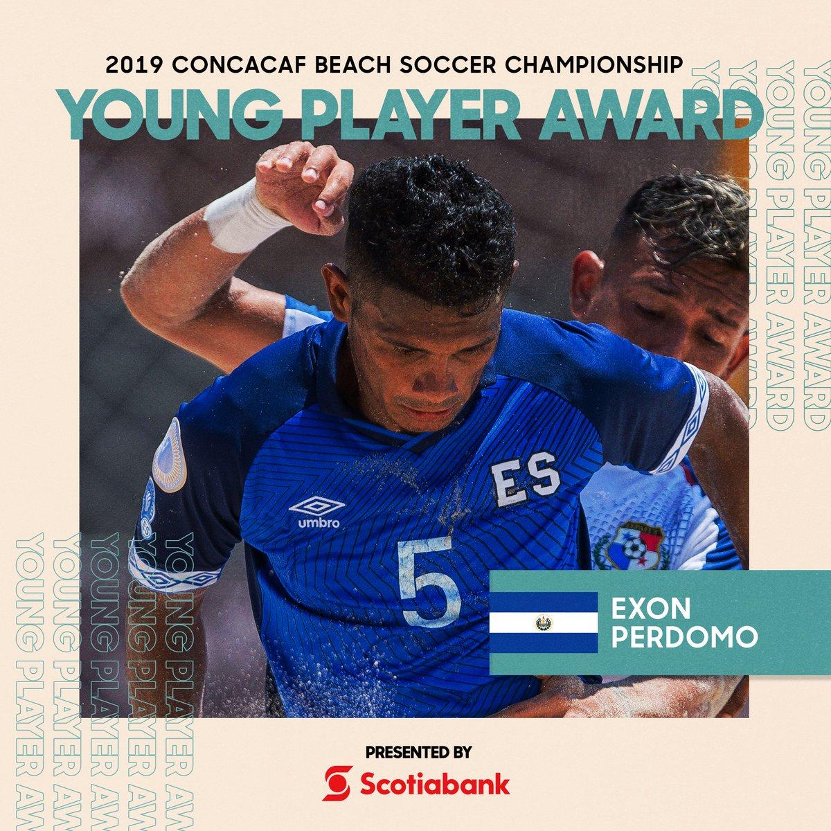 Exon Perdomo de El Salvador, electo ganador al Premio Mejor Jugador joven presentado por @ScotiabankFCen el #CBSC 2019
