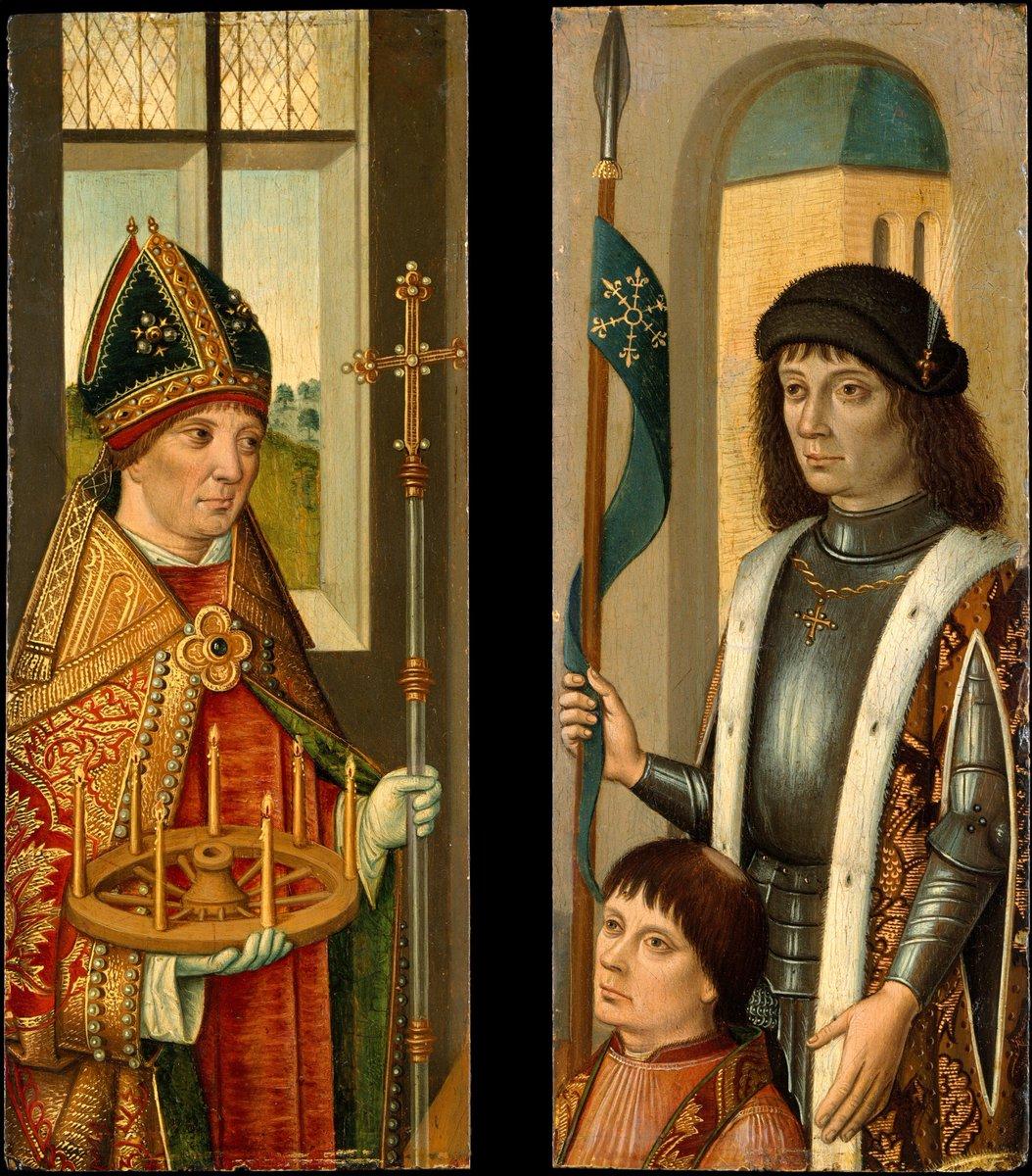 Saint Donatian; Saint Victor Presenting a Donor - Netherlandish (Bruges) Painter, c. 1490. (Metropolitan Museum of Art)