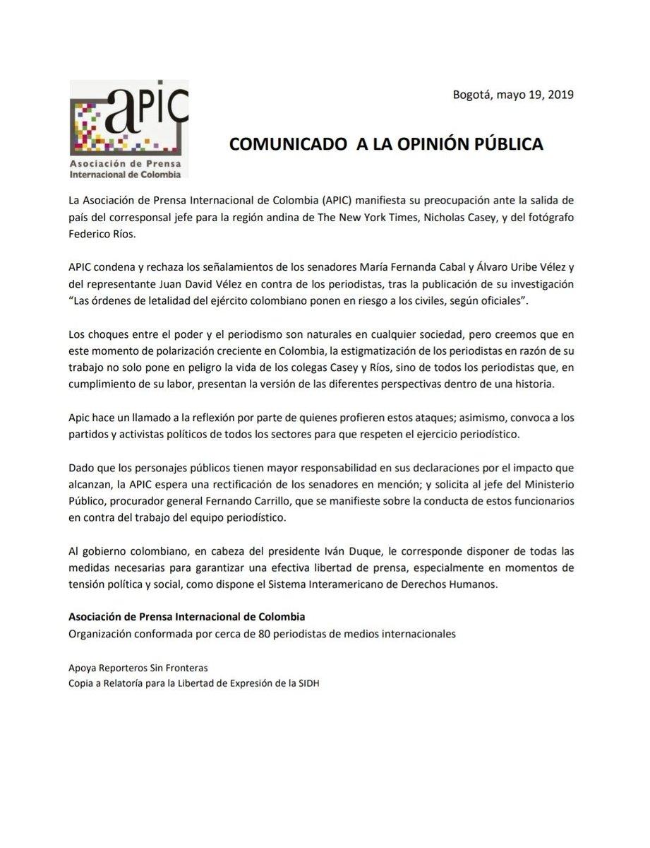 La Asociación de Prensa Internacional de Colombia (@Apicolombia1) emite este comunicado sobre las estigmatizaciones de las que han sido blanco @caseysjournal y @federicorios.