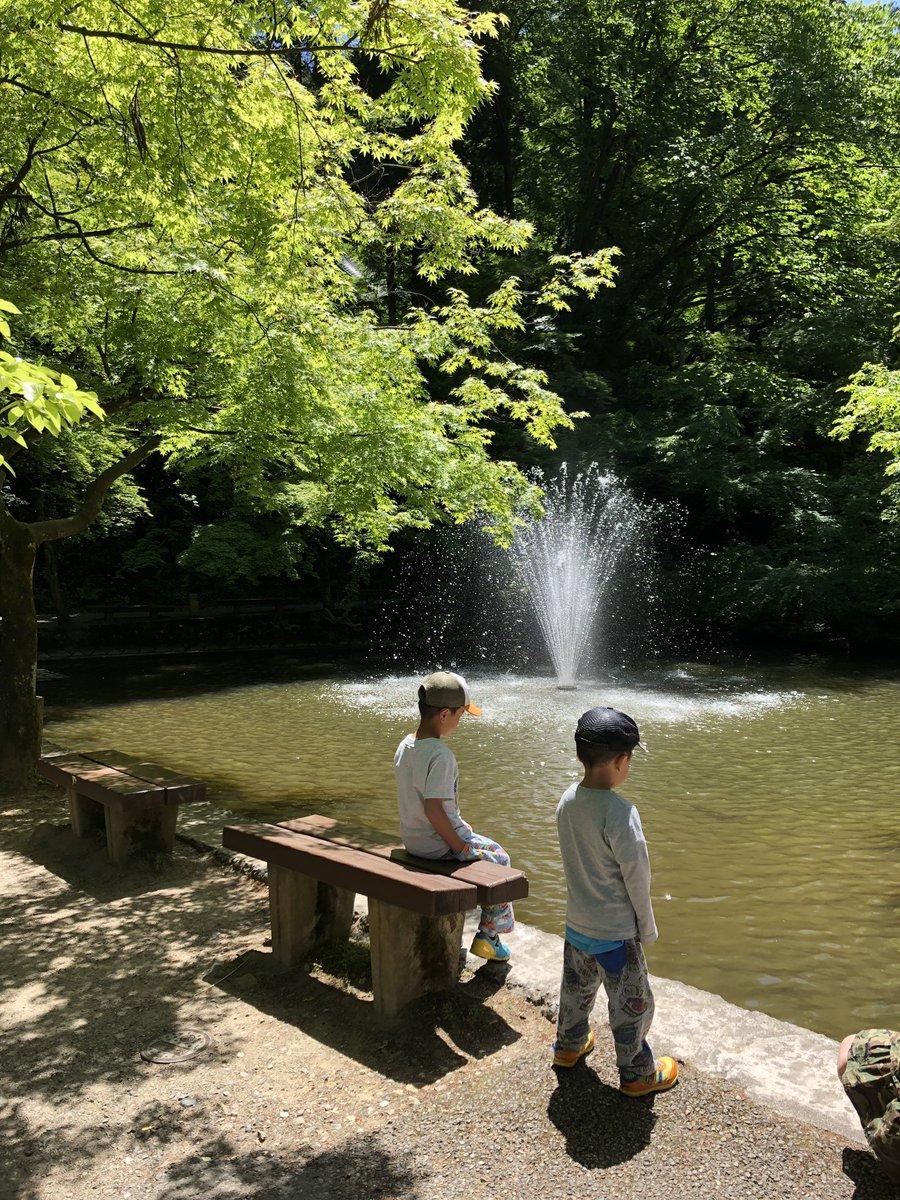 土曜日の運動会の代休で今日はお休み、少し離れた公園に来てます。 暑い!