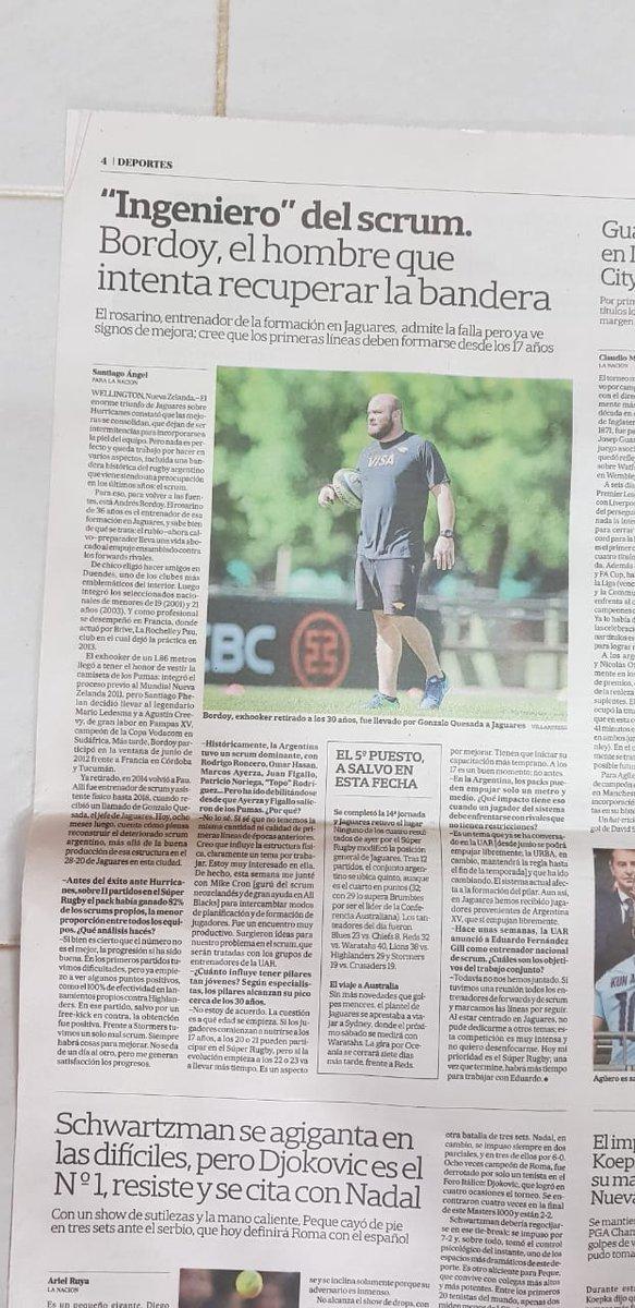 Mi nota, para @DeportesLN, a Andrés Bordoy, el encargado de ayudar a mejorar el scrum de @JaguaresARG. #WARvJAG #HURvJAG #SuperRugby