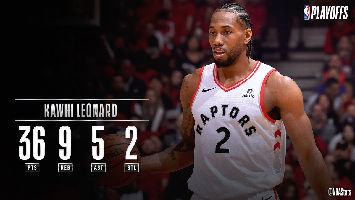 Kawhi Leonard's 36 PTS, 9 REB, 5 AST propel the @Raptors to the Eastern Conference Finals Game 3 W! #SAPStatLineOfTheNight <br>http://pic.twitter.com/bq1M8RgRyq