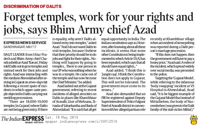 Forget temples, work for your rights and jobs, says Bhim Army chief Azad to Dalits in #Gujarat. @IndianExpress<br>http://pic.twitter.com/5w5E6JekTT
