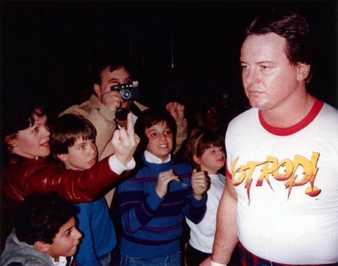 """I knew we shouldn't have brought mom to meet Roddy Piper."""