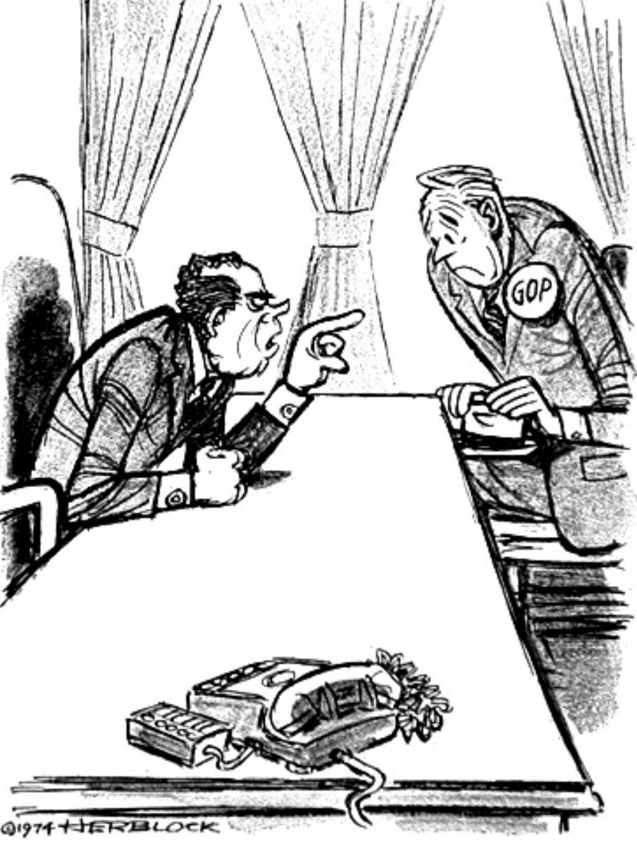 In this 1974 Herblock cartoon, Nixon says, Listen, are you going to be loyal to me or to that (expletive deleted) Constitution?