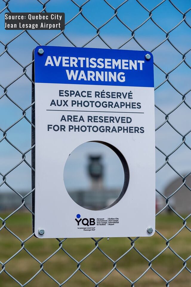 AREA RESERVED FOR PHOTOGRAPHERS ✈️🛫🛬🛩🚁 Quebec City Airport installing photographer holes in 10 locations around the airport. This allows photogs' lenses an unobstructed view of the airfield. #AvGeeks #Planespotting