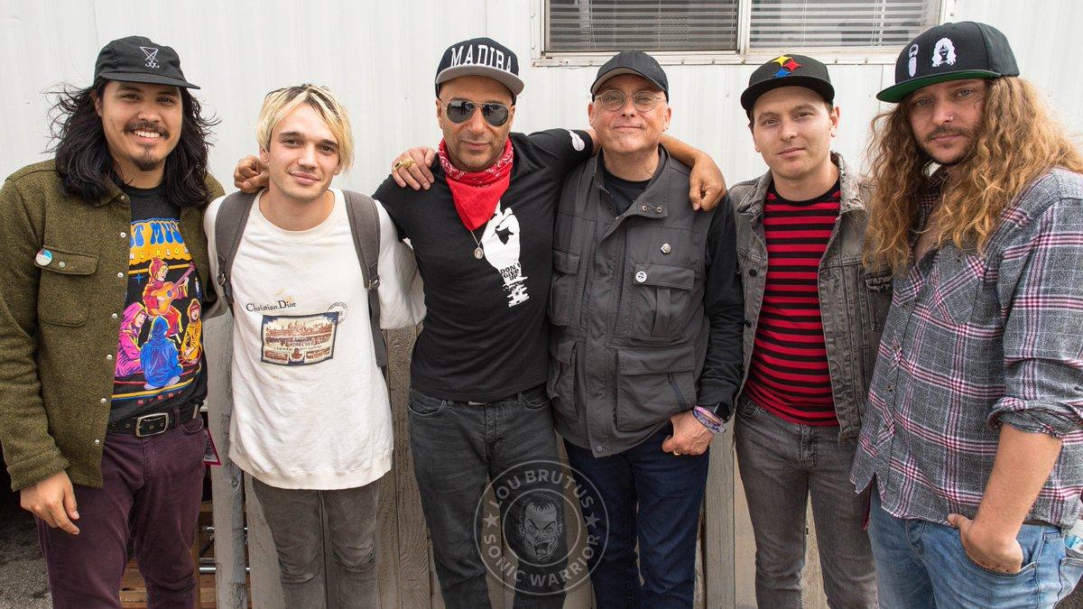 SONIC TEMPLE: @TMorello and @Badflower with @LouBrutus backstage at @SonicTempleFest. #SonicTempleFestival #TomMorello #Badflower