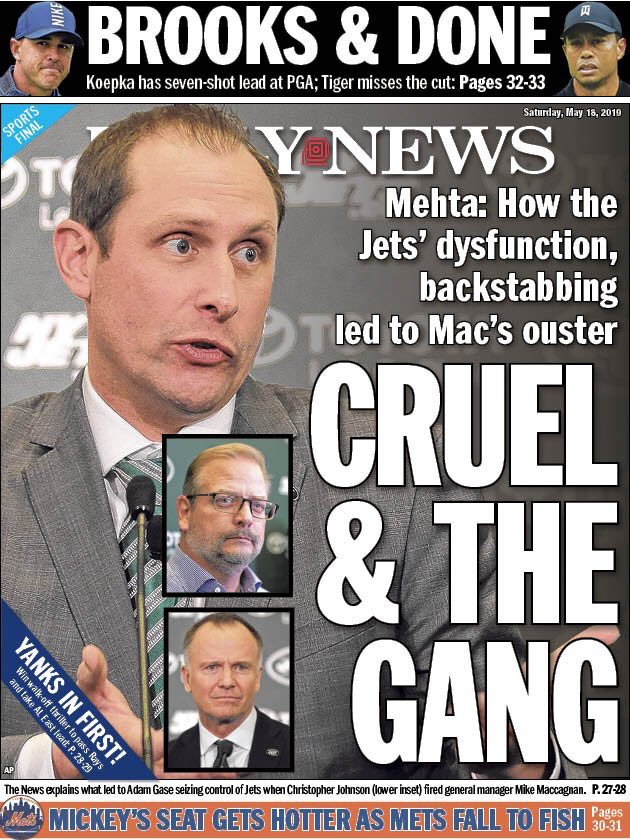 Saturday's @NYDailyNews back page: Behind the scenes of the final straw that led to Mike Maccagnan's firing. Story: buff.ly/2Jr0jmN Back page: