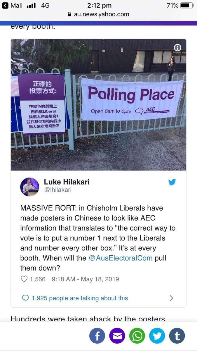 Misleading good, Chinese speaking people in the seat of Chisholm is despicable! Everyone deserves a right to vote for who they want, regardless of their first language! The fact @AusElectoralCom are doing nothing about this is awful. #ausvotes