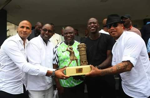 D6116 FXkAcDAjF - [Photos]: GEORGE WEAH, DROGBA, ETO'O, TOURE, El Hajj Diouf, Drogba And Others Storm Agege Stadium To Showcase Their Football Skills