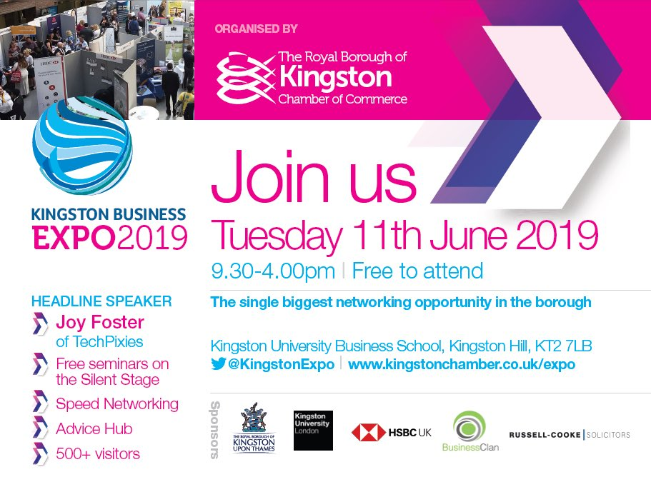 Do you like to network? The #KingstonExpo is the largest networking opportunity in the Borough! JOIN US - FREE to attend. #NetworkingEvent #kingstonuponthames @KingstonUniBiz https://t.co/GFHrQxGrBb