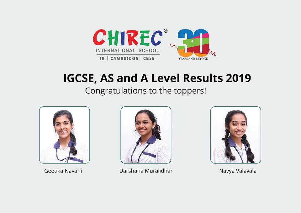 Congratulations to the toppers of #IGCSE, #AS and A Level who scored the highest marks in the Cambridge International March Series Examinations and brought laurels to the school! #igcse2019 #cambridgeinternational #CHIREC
